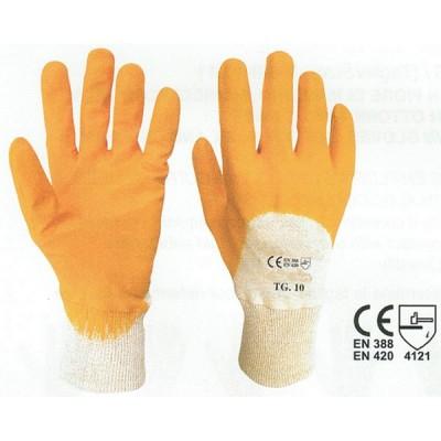 Guanto giallo cotone tessuto interlock